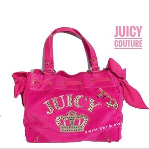 juicy couture hot pink velour daydreamer tote bag